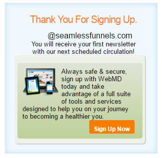 webmd-newsletter-subscribe-funnel-thank-you-page
